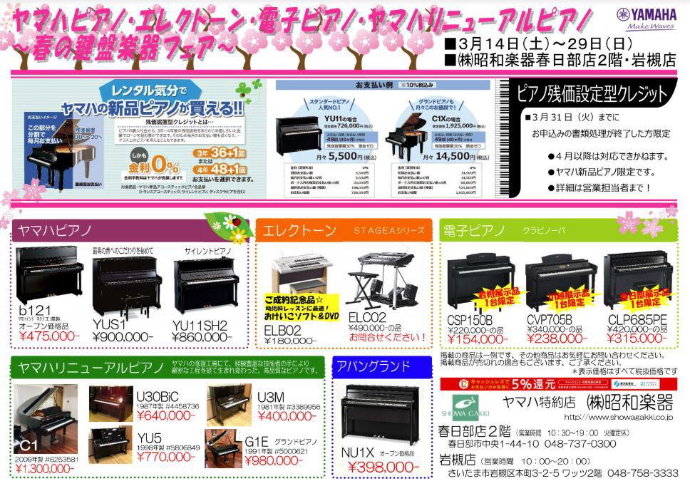 【中止】3月1日 ~被災地に響く音楽~東日本大震災復興支援 ピアノコンサート(春日部店ミニホール)